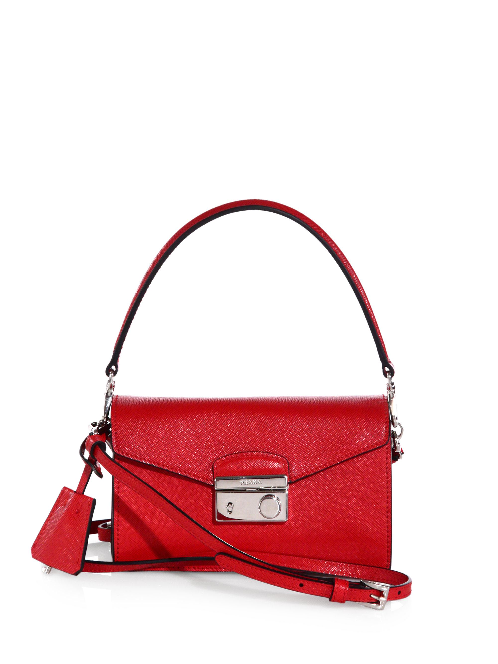 82ea247d735c ... promo code for lyst prada saffiano leather mini sound crossbody bag in  red 7050e bb824