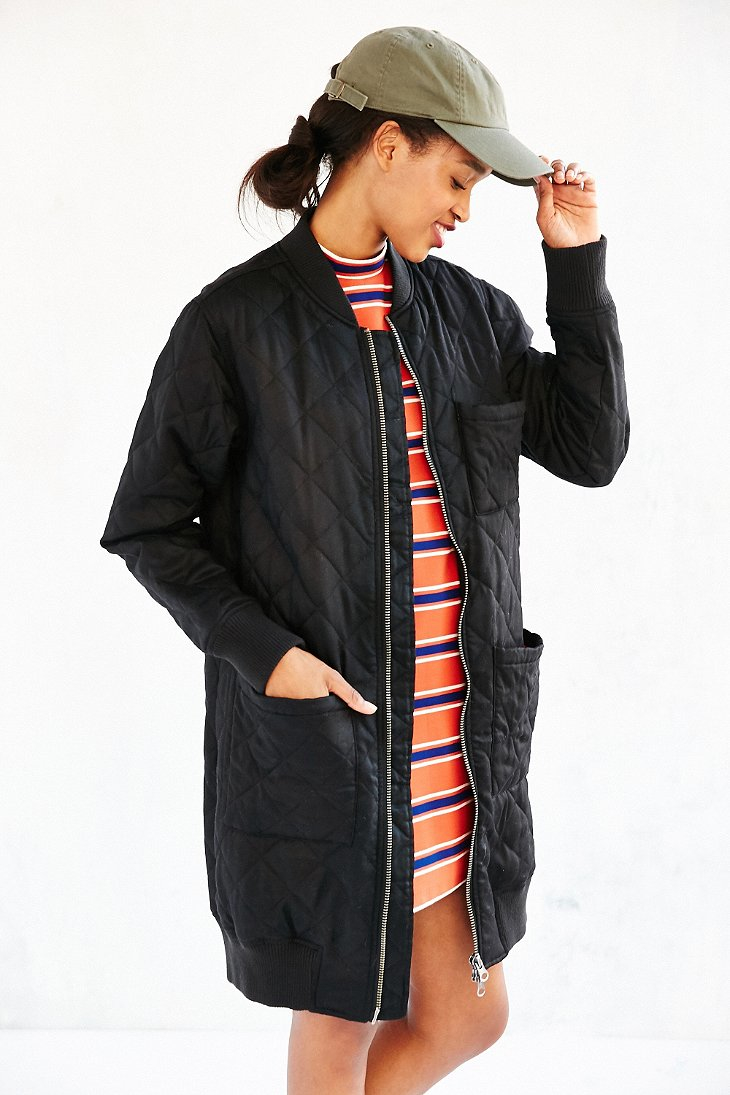 Silence   noise Long Quilted Bomber Jacket in Black | Lyst