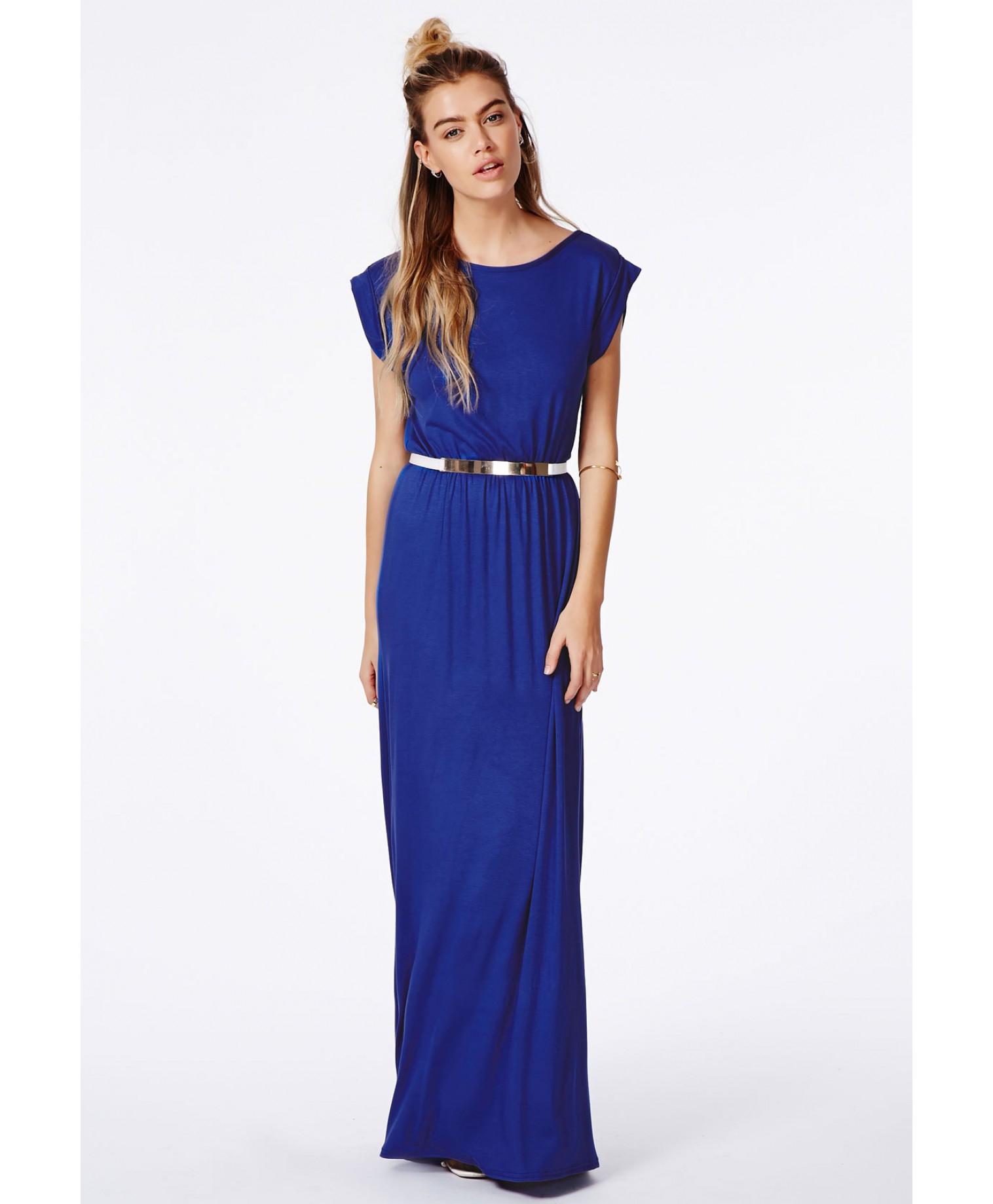 Missguided Abelie Cobalt Blue T-shirt Maxi Dress in Blue ...
