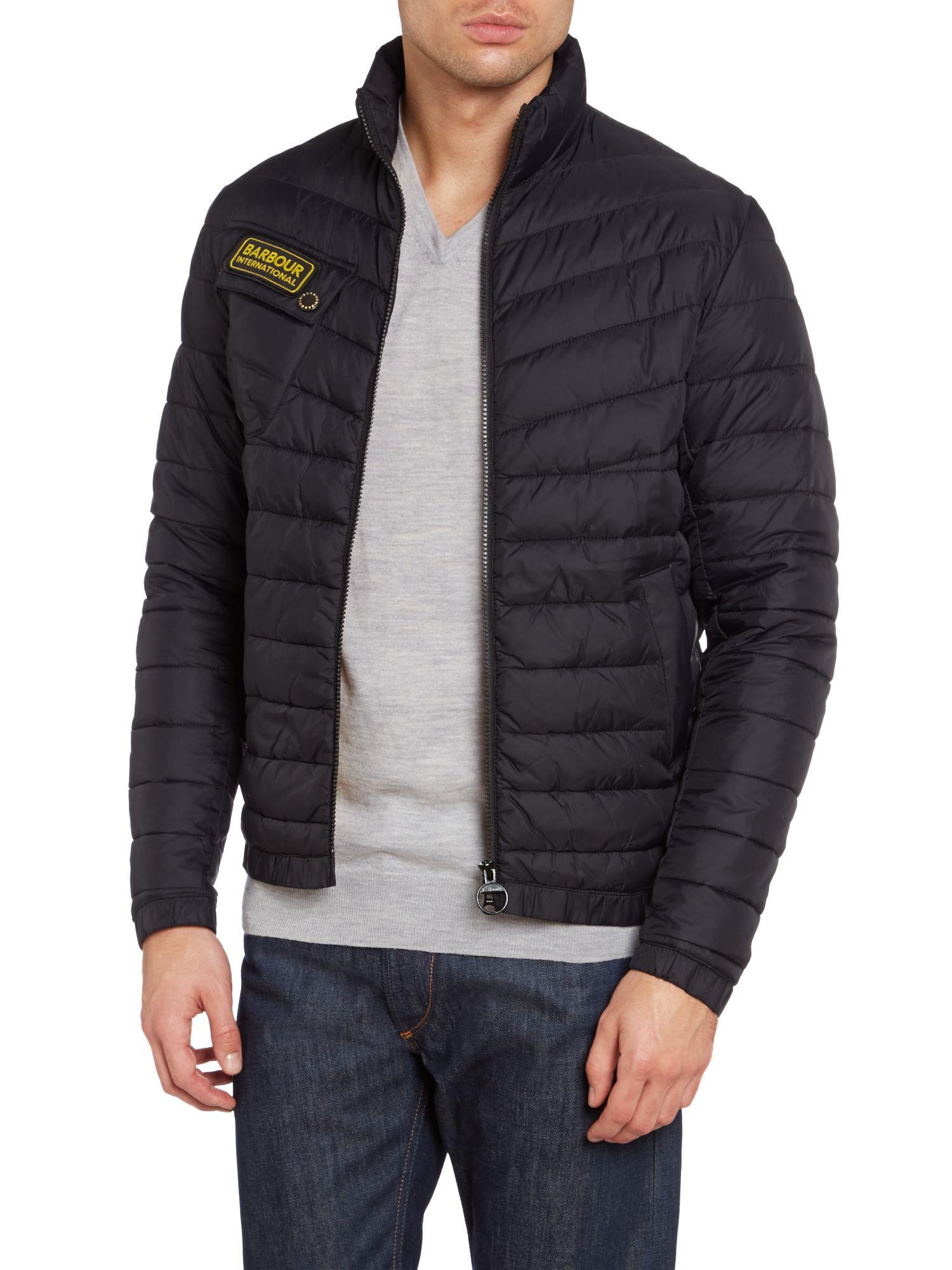 Barbour Chain International Quilted Baffle Jacket in Black ...