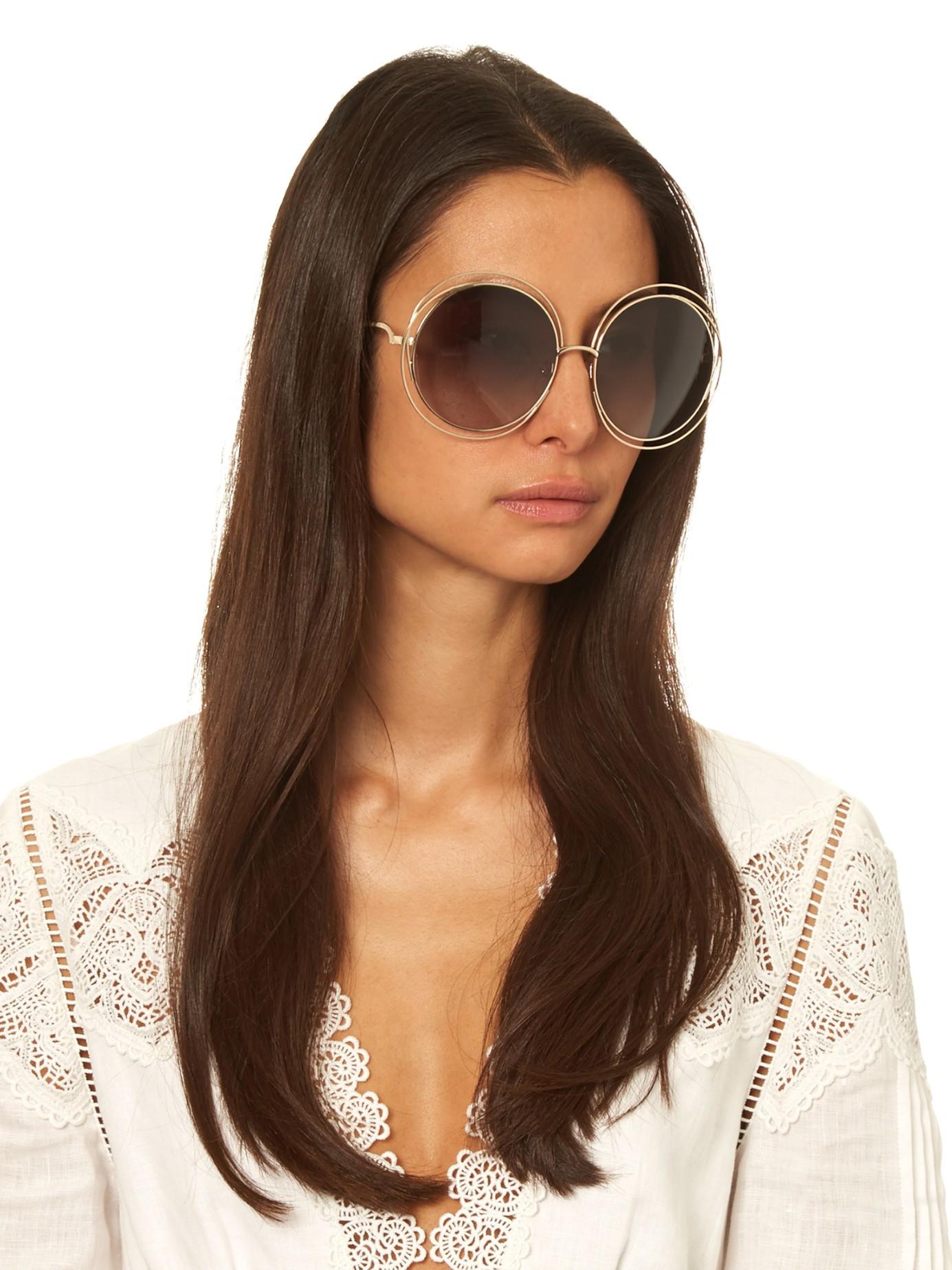 7982e4032 Chloé Carlina Round-framed Sunglasses in Metallic - Lyst
