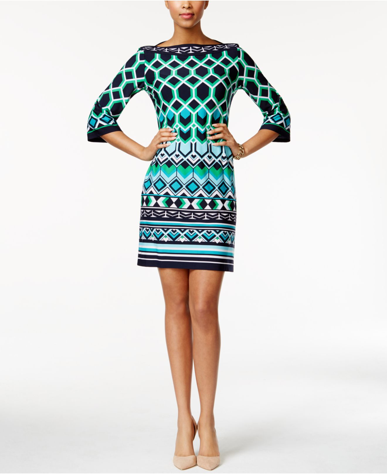 8c7905d46d Lyst - Sandra Darren Three-quarter-sleeve Geo-print Sheath Dress in Blue