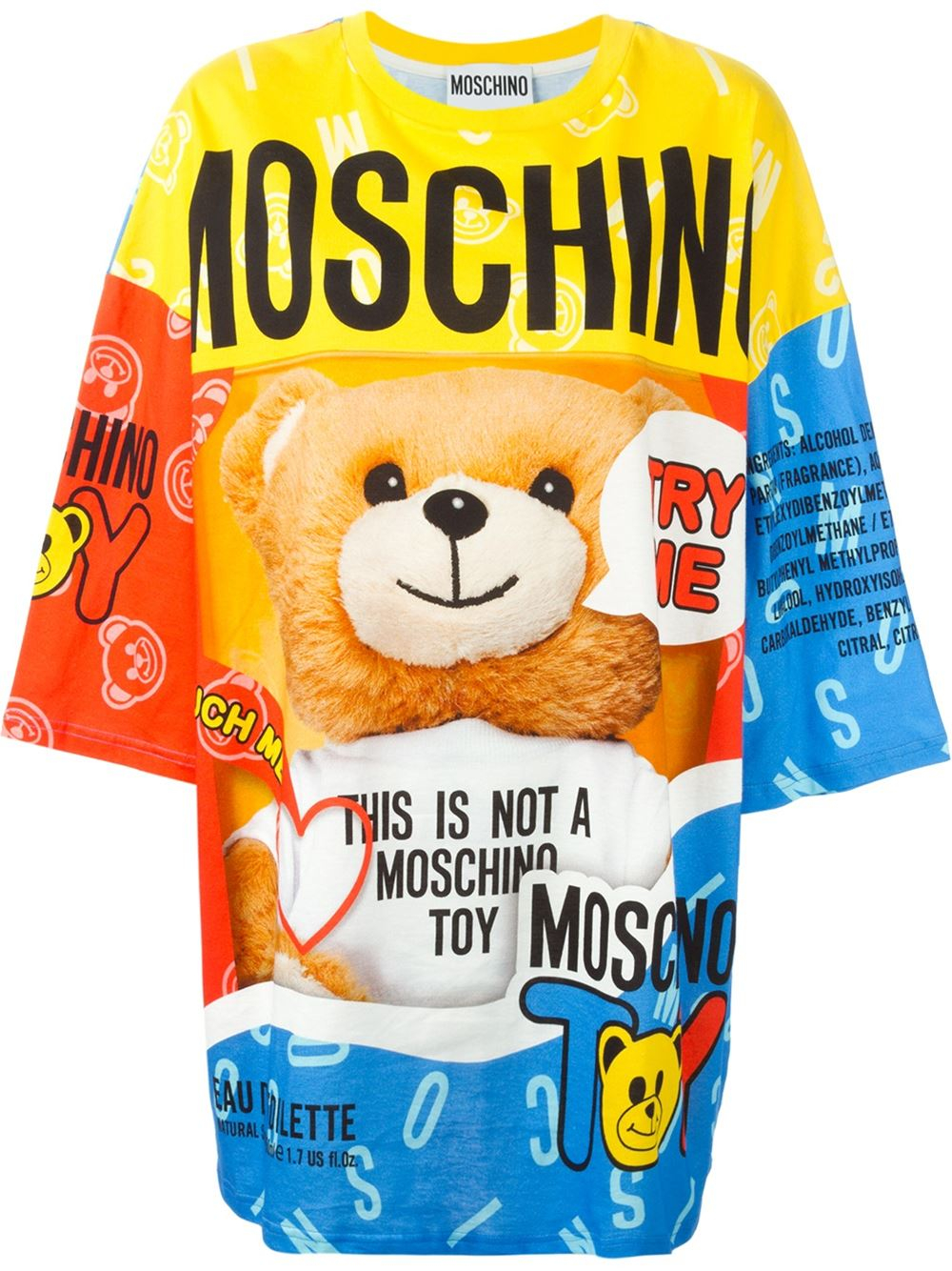 Moschino Teddy Bear Perfume T Shirt Dress In Multicolor