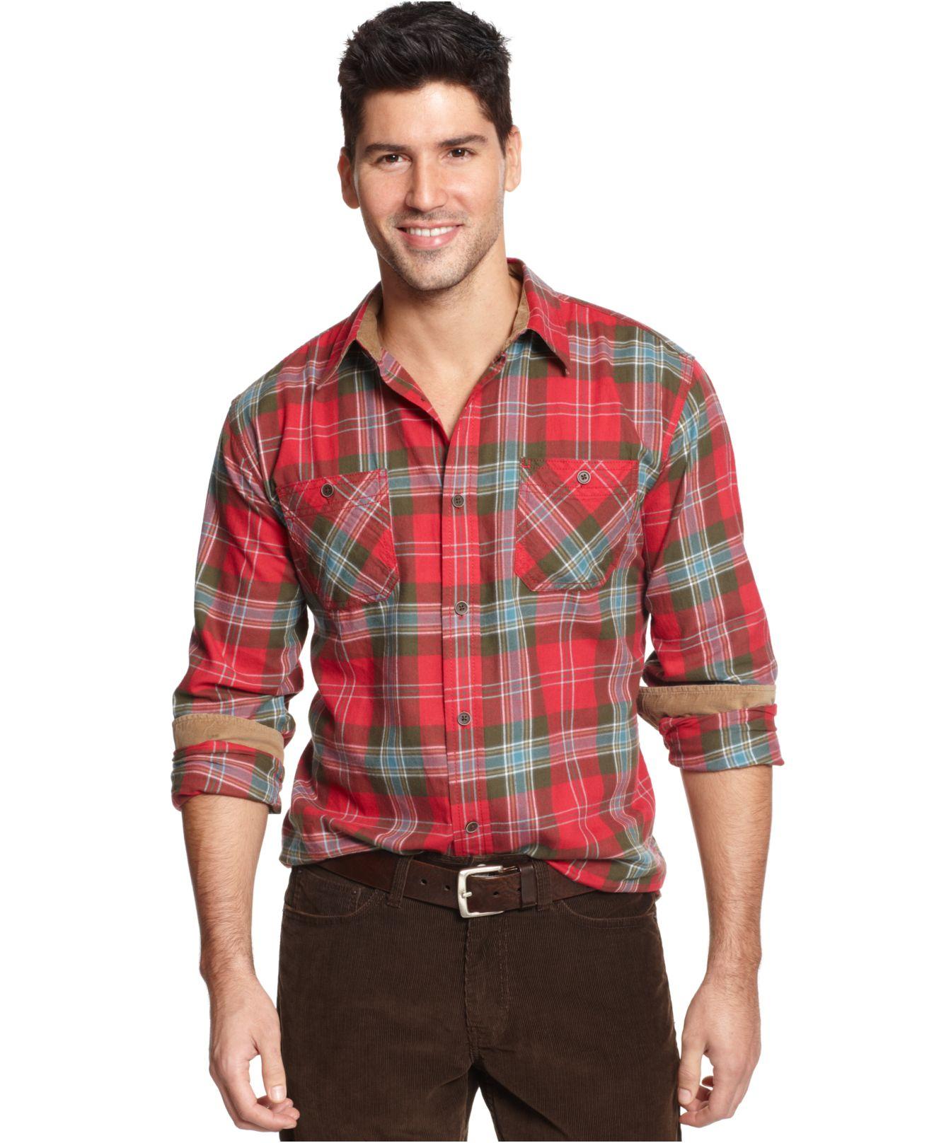 Weatherproof vintage plaid flannel long sleeve shirt in for Weatherproof vintage men s lightweight flannel shirt