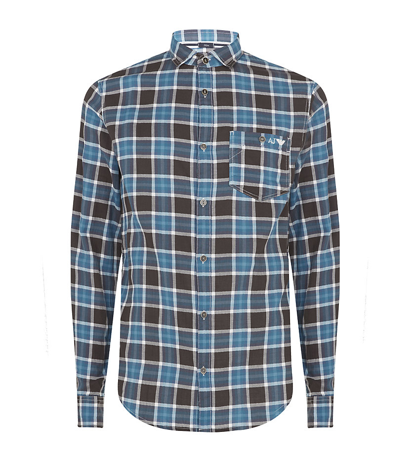 Armani Jeans Checked Flannel Shirt In Blue For Men Lyst