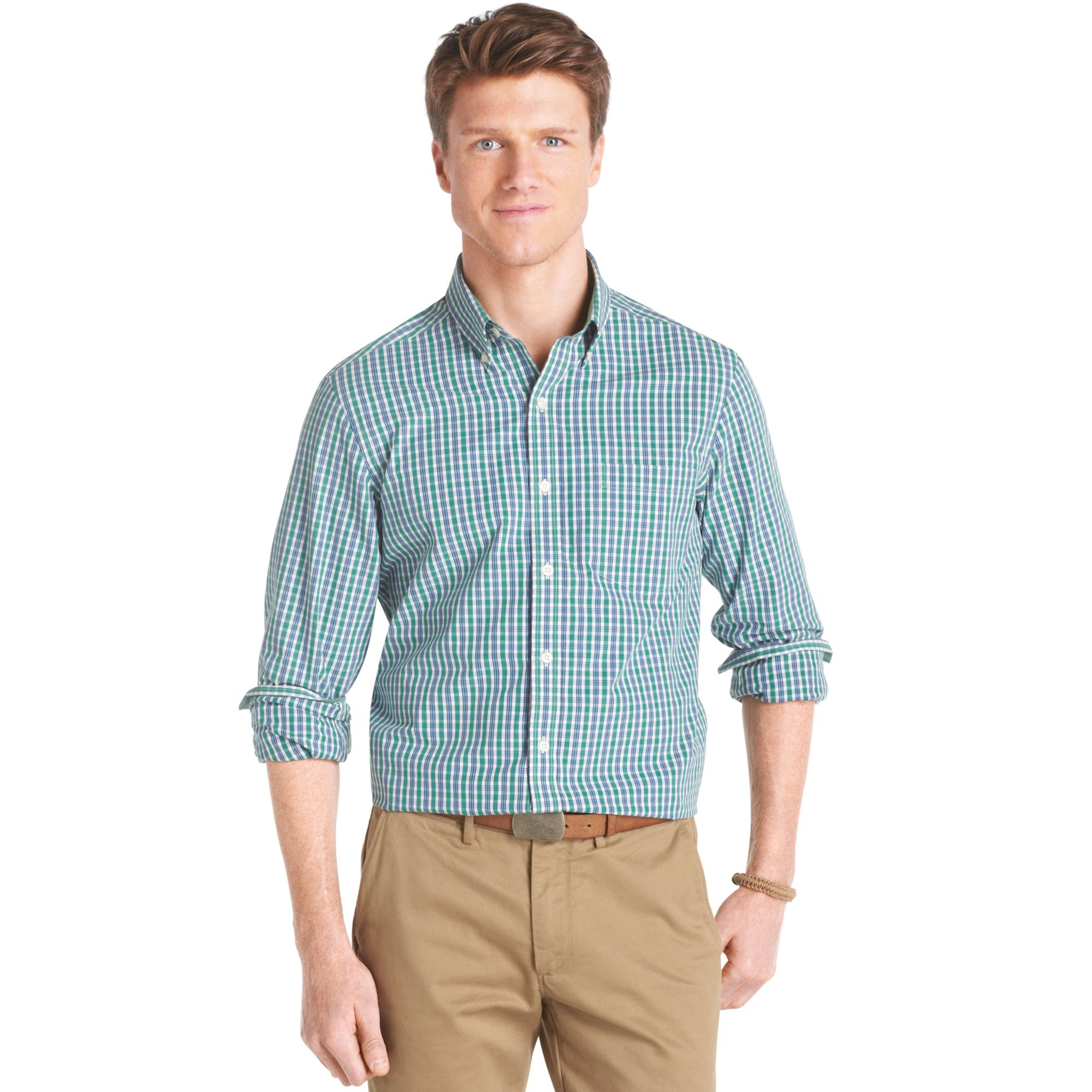 Izod big and tall long sleeve plaid shirt in green for men for Izod big and tall shirts