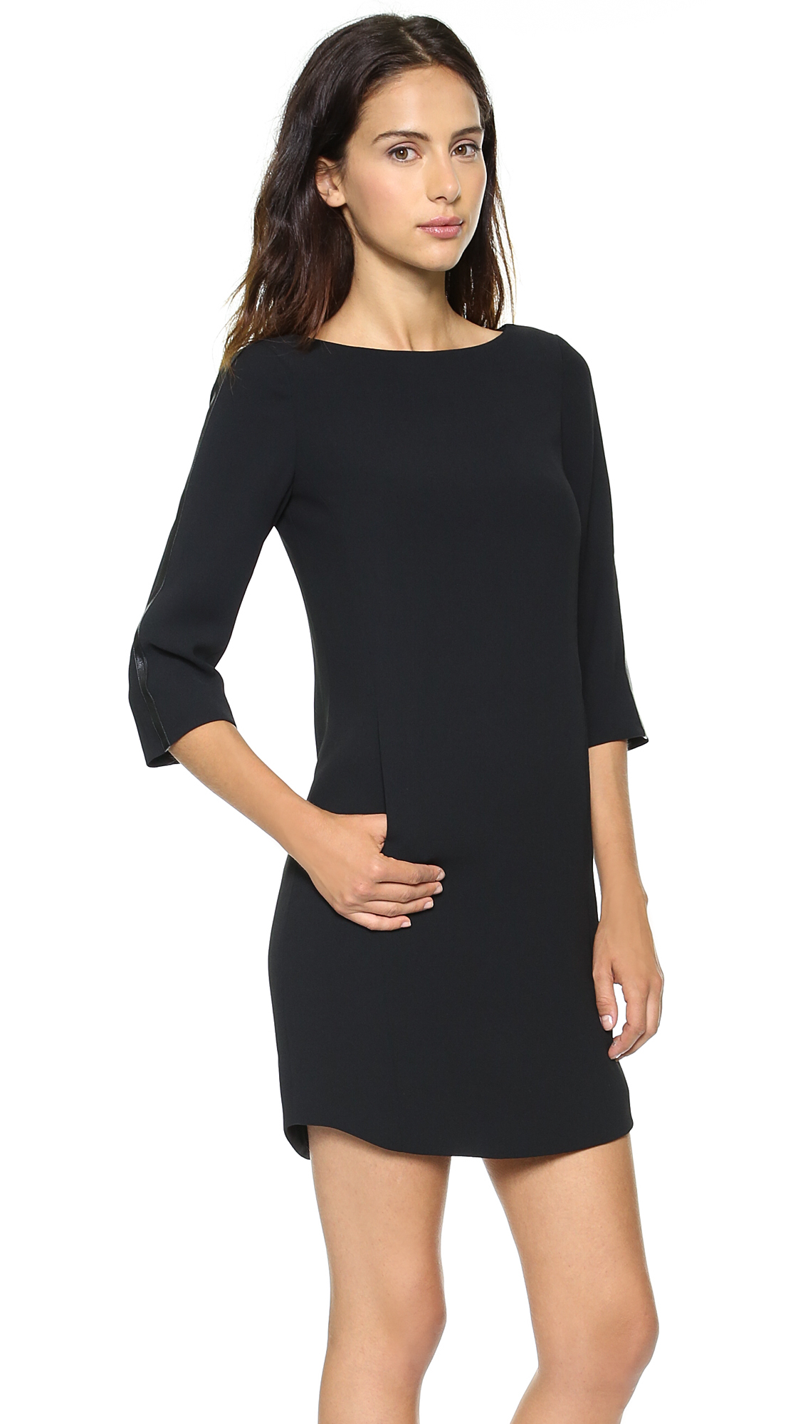 Vince Bracelet Sleeve Dress With Leather Black In Lyst