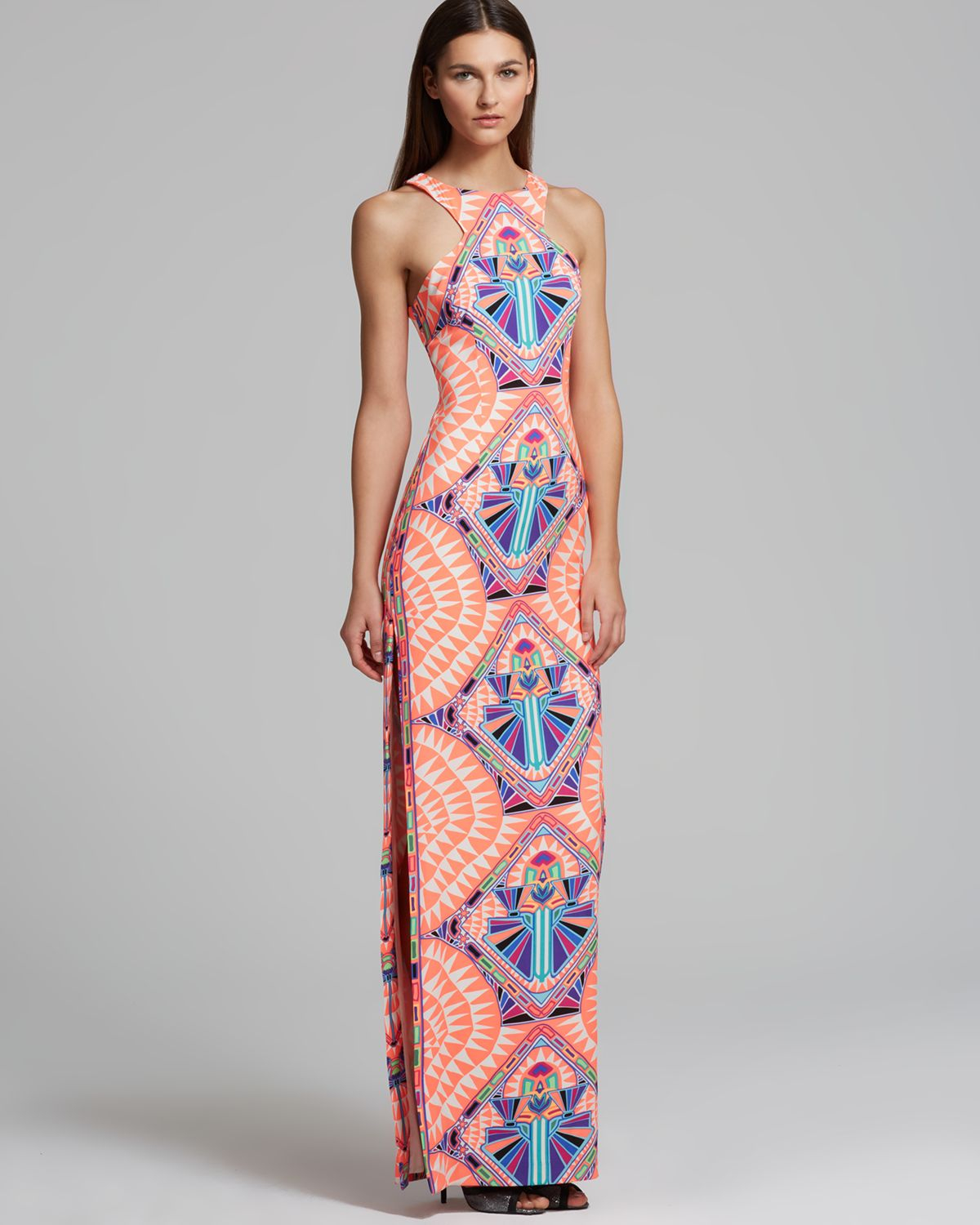 Mara hoffman Maxi Dress High Neck Printed in Blue | Lyst