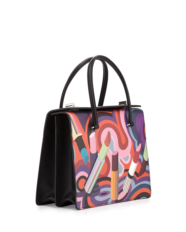 Prada Lipstick-print Saffiano Tote Bag in Multicolor (MULTI COLORS ...