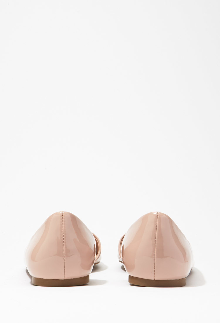 02034f97a8c Forever 21 Pointed Faux Patent Flats in Pink - Lyst