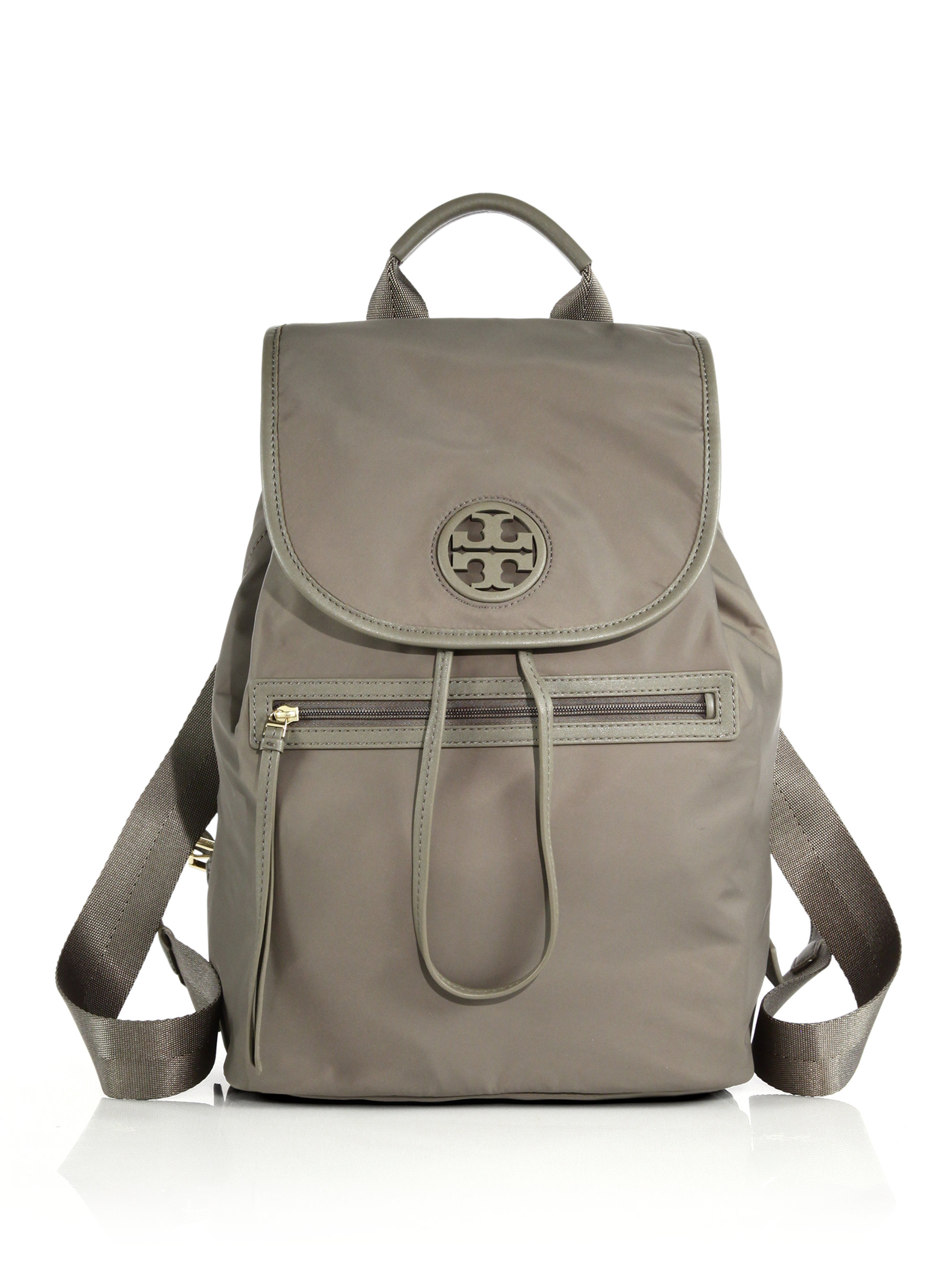 Tory Burch Nylon Flap Backpack In Gray taupe Lyst