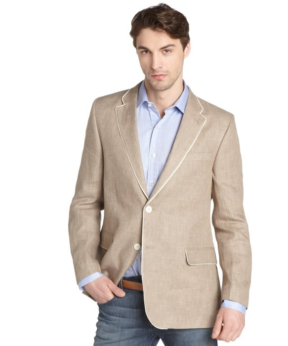 Tommy hilfiger Light Brown Linen Blazer With White Trim in Brown ...