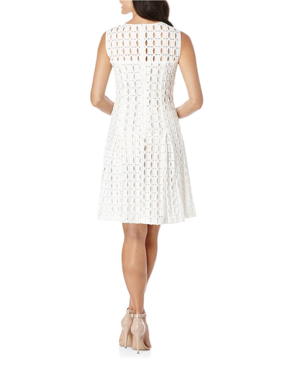 Lyst Rafaella Geometrical Lace Femme Fit Amp Flare Dress