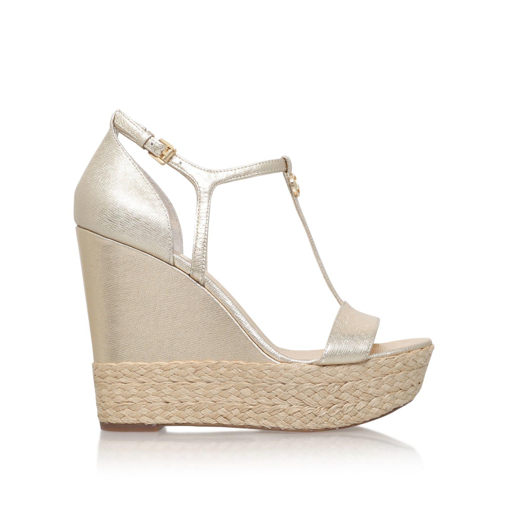 michael kors kerri wedge high heel wedge sandals in metallic lyst. Black Bedroom Furniture Sets. Home Design Ideas