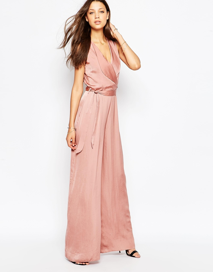 22e3d782527 Lyst - ASOS Tall Wrap Front Wide Leg Jumpsuit in Pink