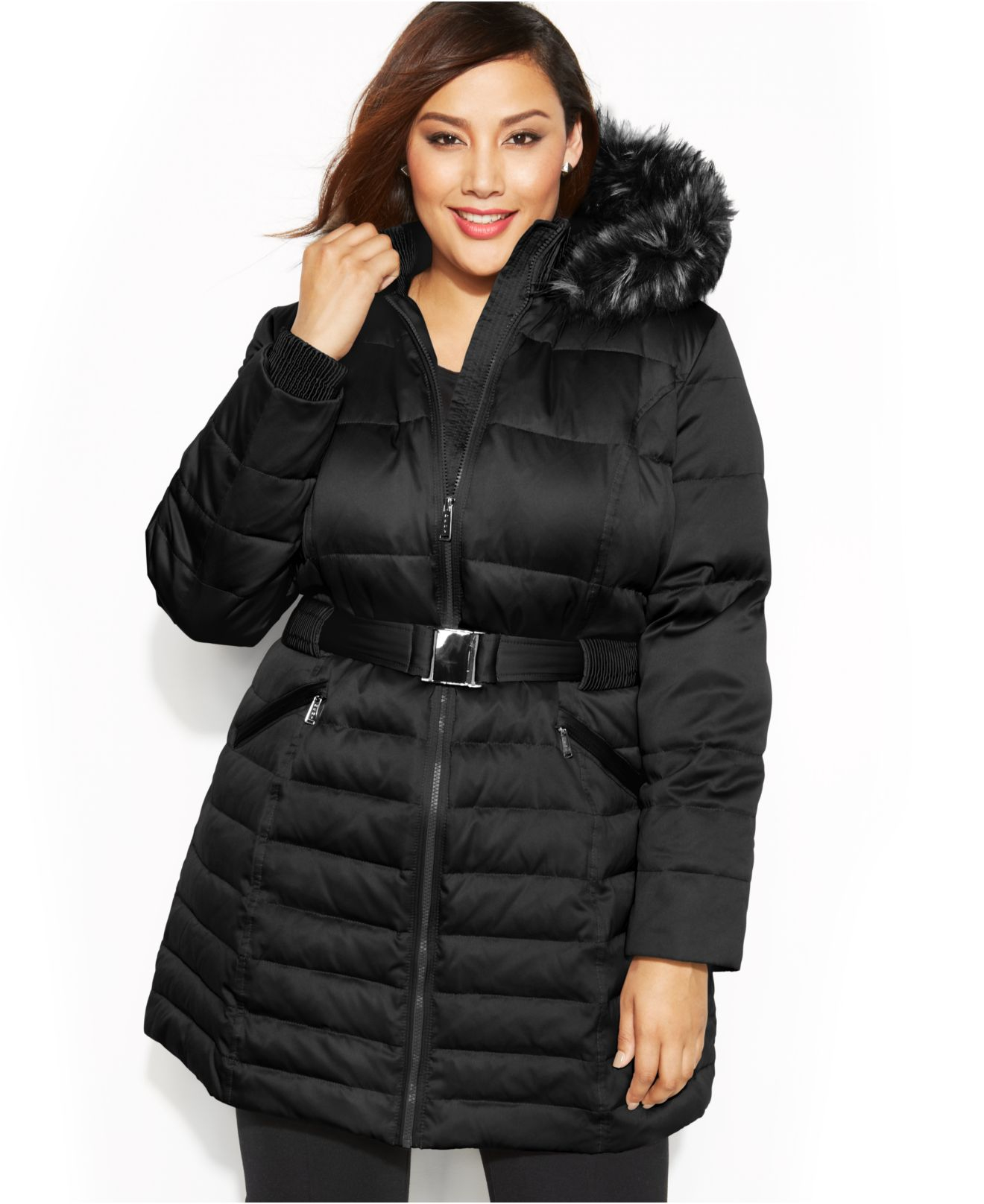Dkny Plus Size Faux-Fur Hooded Belted Down Coat in Black | Lyst