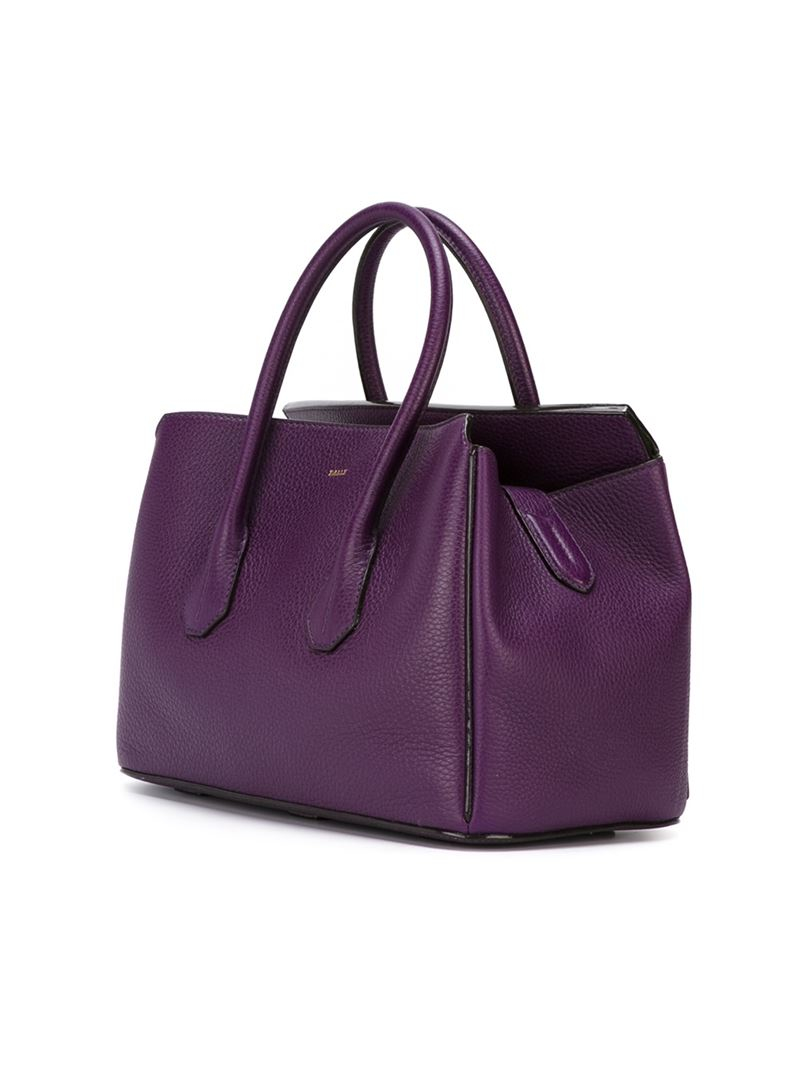 Lyst Bally Double Handle Tote Bag In Purple