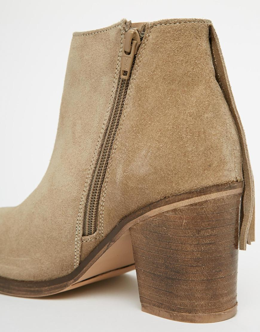 Asos Riley Suede Western Fringe Ankle Boots - Sand in Natural | Lyst
