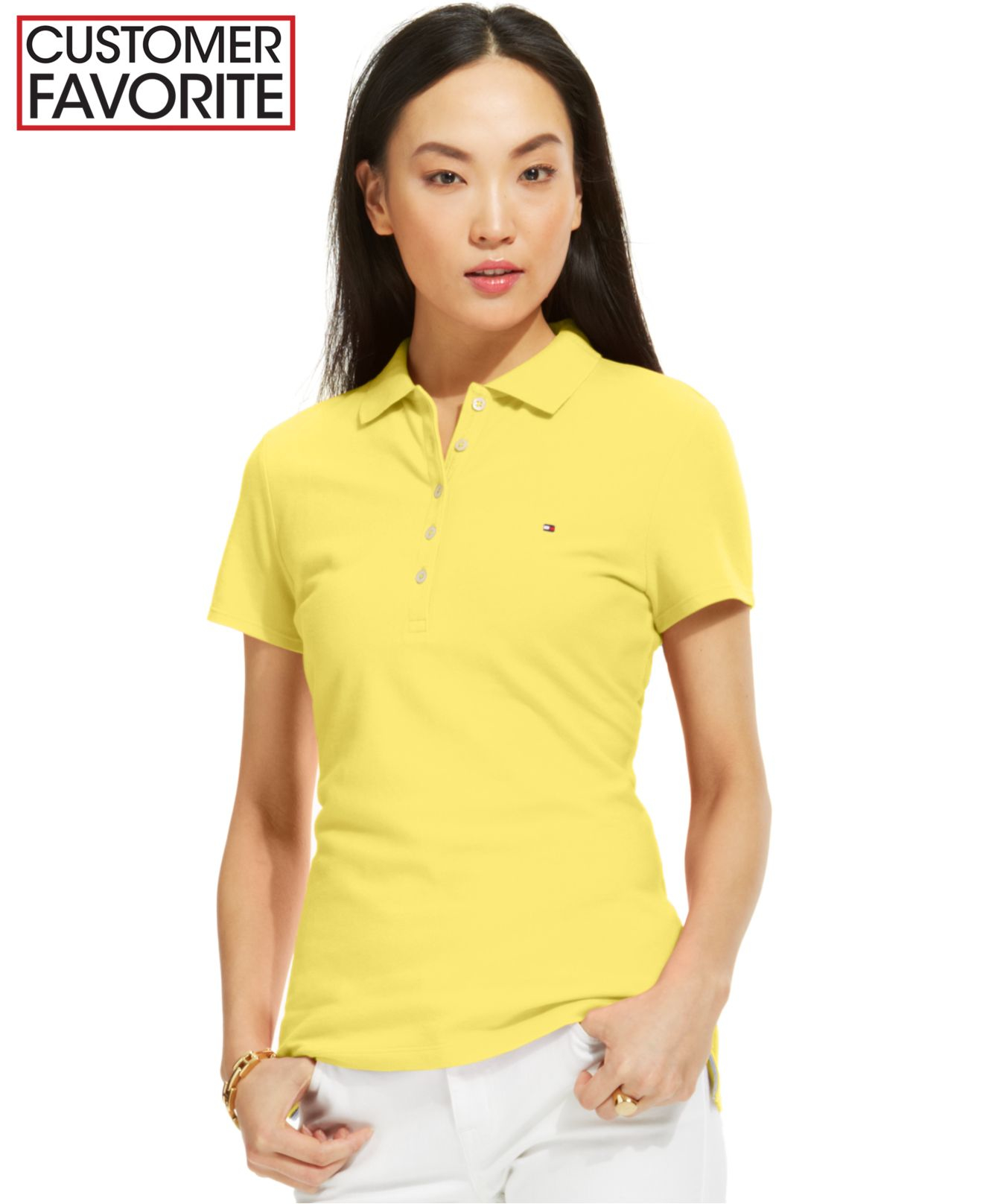 Lyst Tommy Hilfiger Solid Polo Top In Yellow