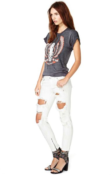 One Teaspoon White Freebird Jeans Gal One Teaspoon Freebird