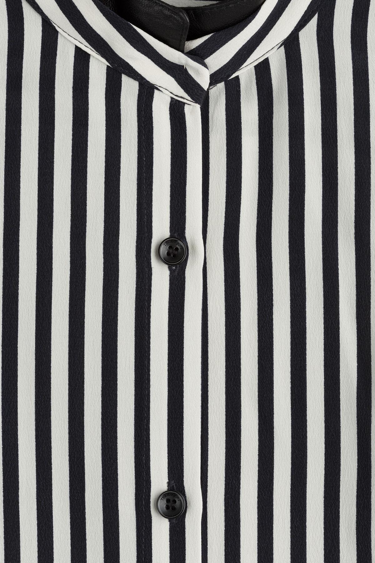 7f2c7a48300a7 Black And White Striped Silk Shirt