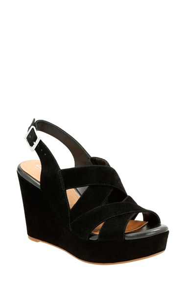 fb37e3a211352 Lyst - Clarks Amelia Alice Slingback Wedge Sandals in Black