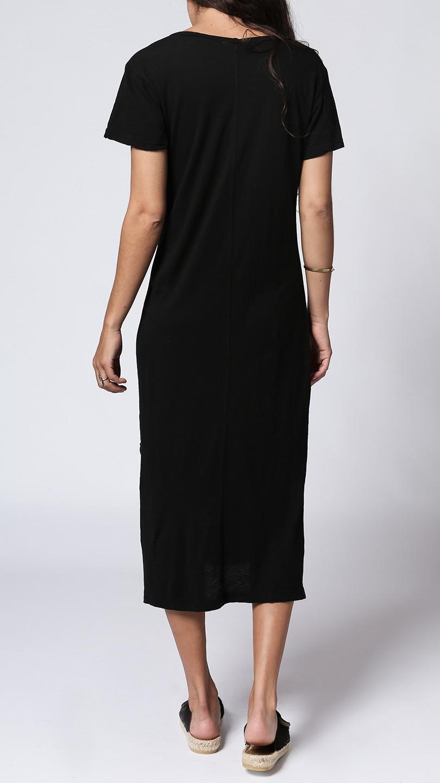 Lna t shirt midi dress in black lyst for Midi shirt dress black