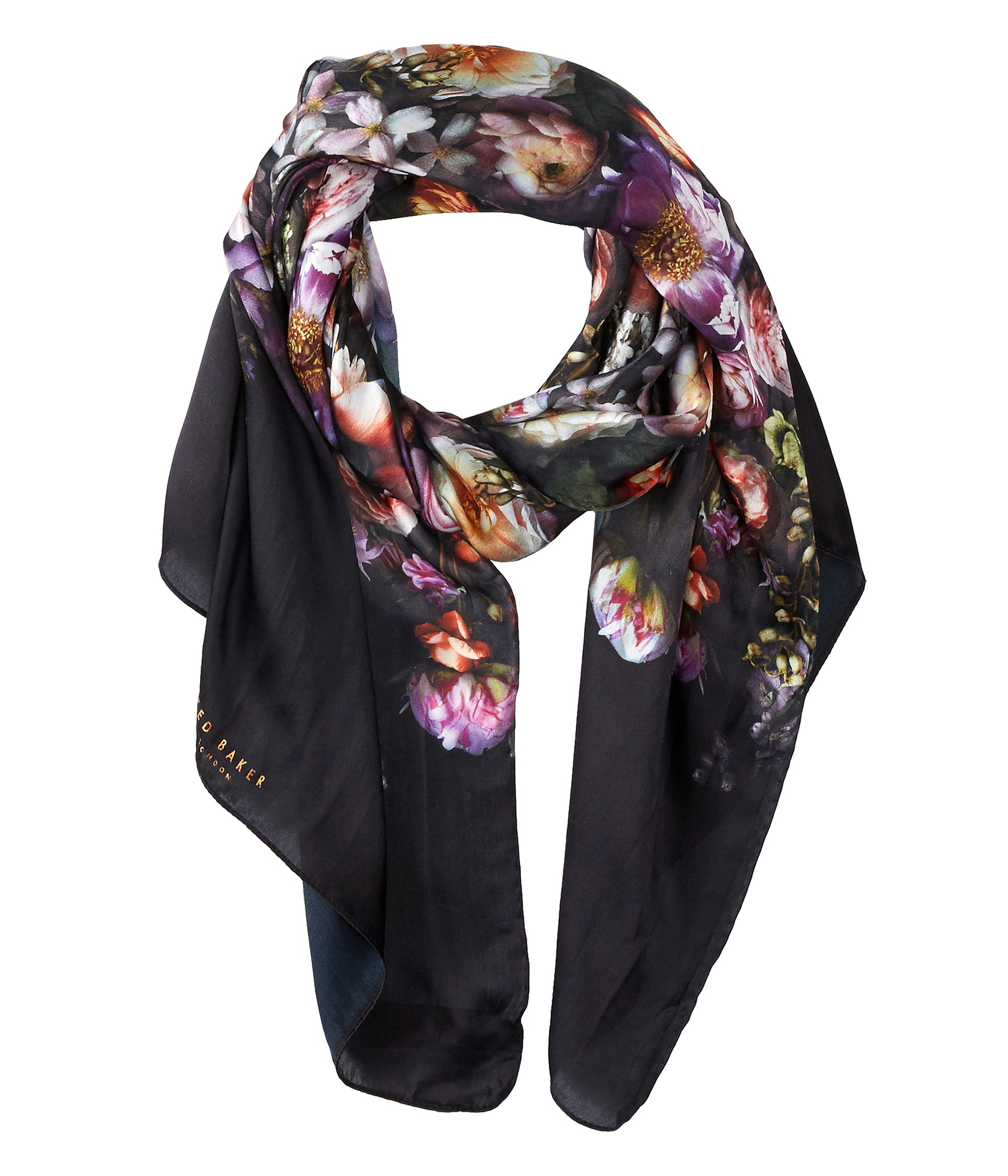 b99b816a5ce84 Ted Baker Shadow Floral Long Silk Scarf Lyst