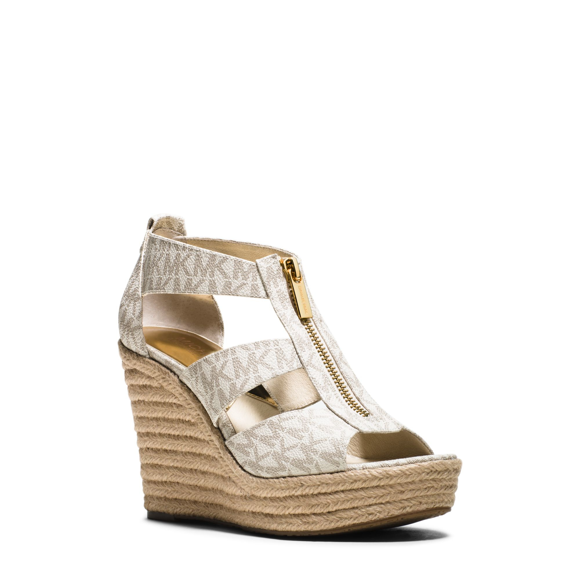 c1cdf47d98f1 Lyst - Michael Kors Damita Platform Wedge Sandals in White