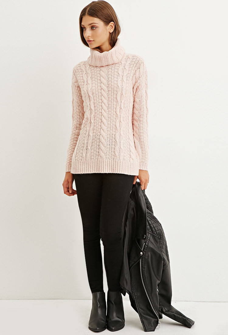 Forever 21 Cable Knit Turtleneck Sweater in Pink | Lyst