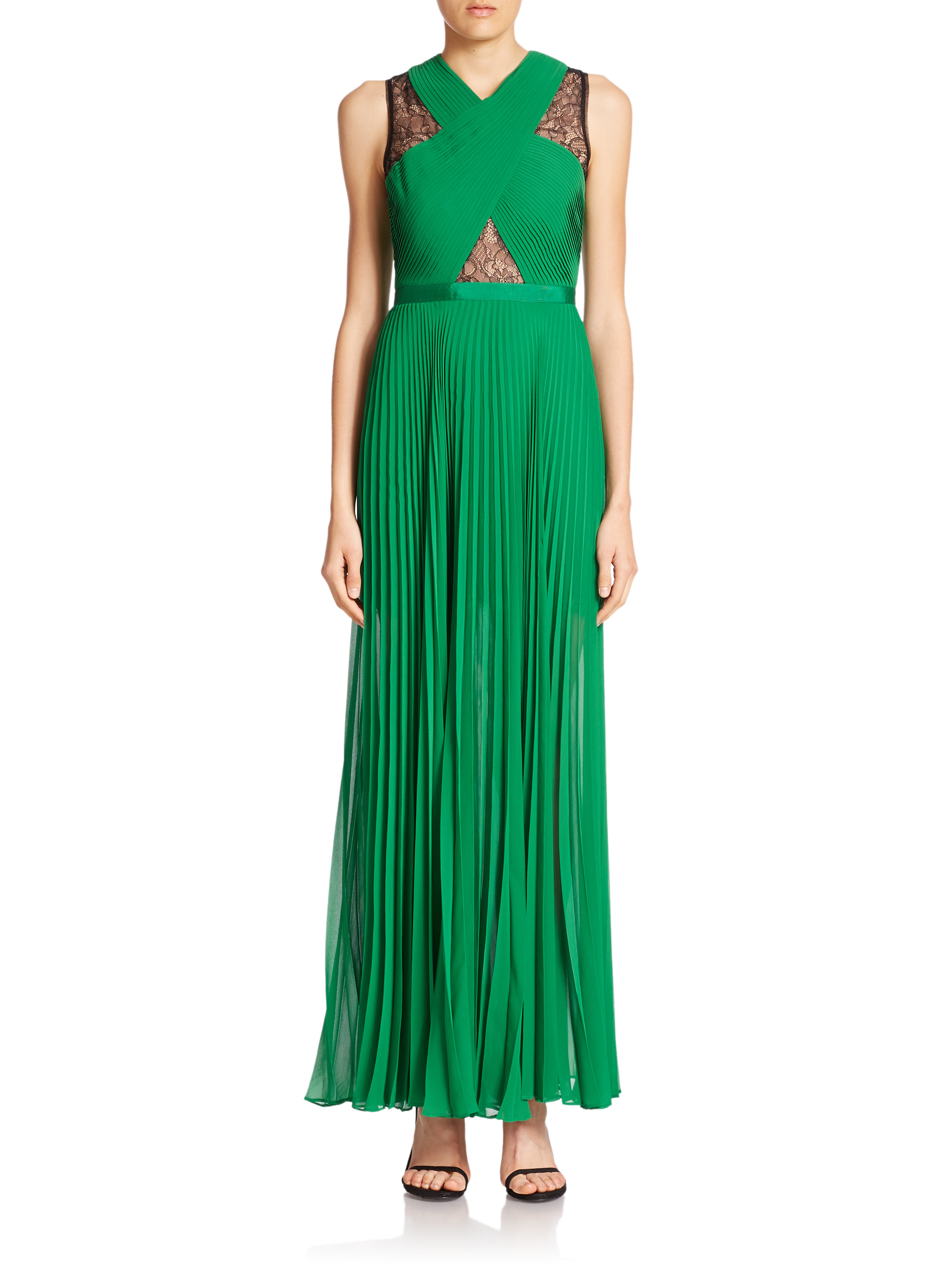 Lyst - Bcbgmaxazria Caia Pleated Illusion Dress in Green