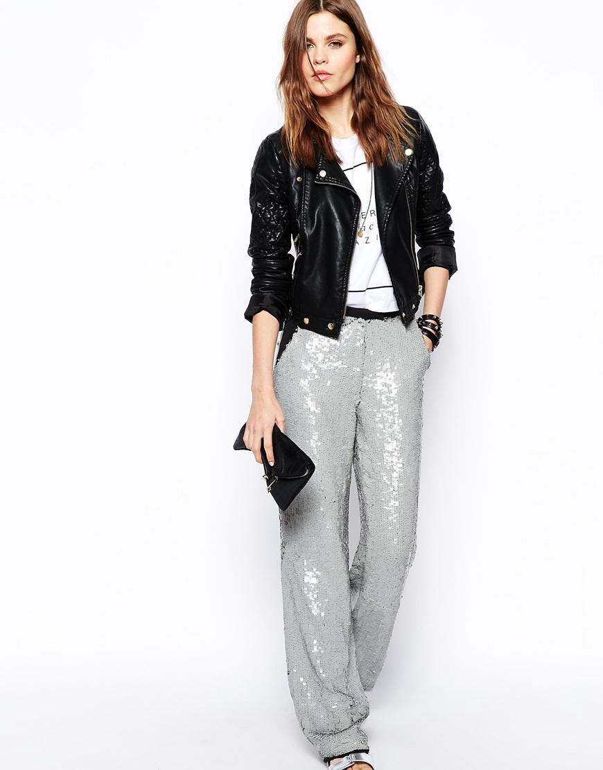 Asos Sequin Wide Leg Pants in Gray | Lyst