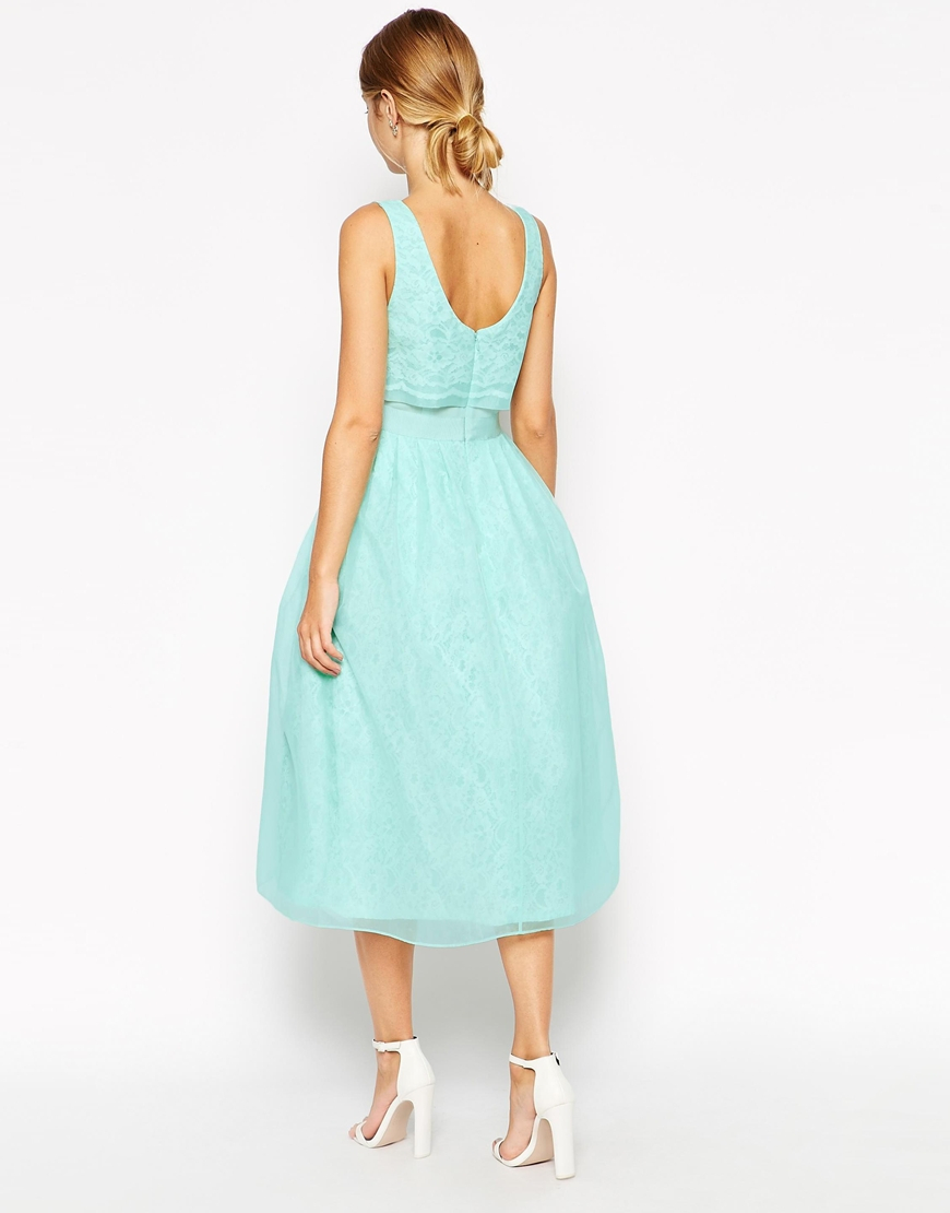 Lyst - Asos Lace Crop Top Midi Prom Dress in Green