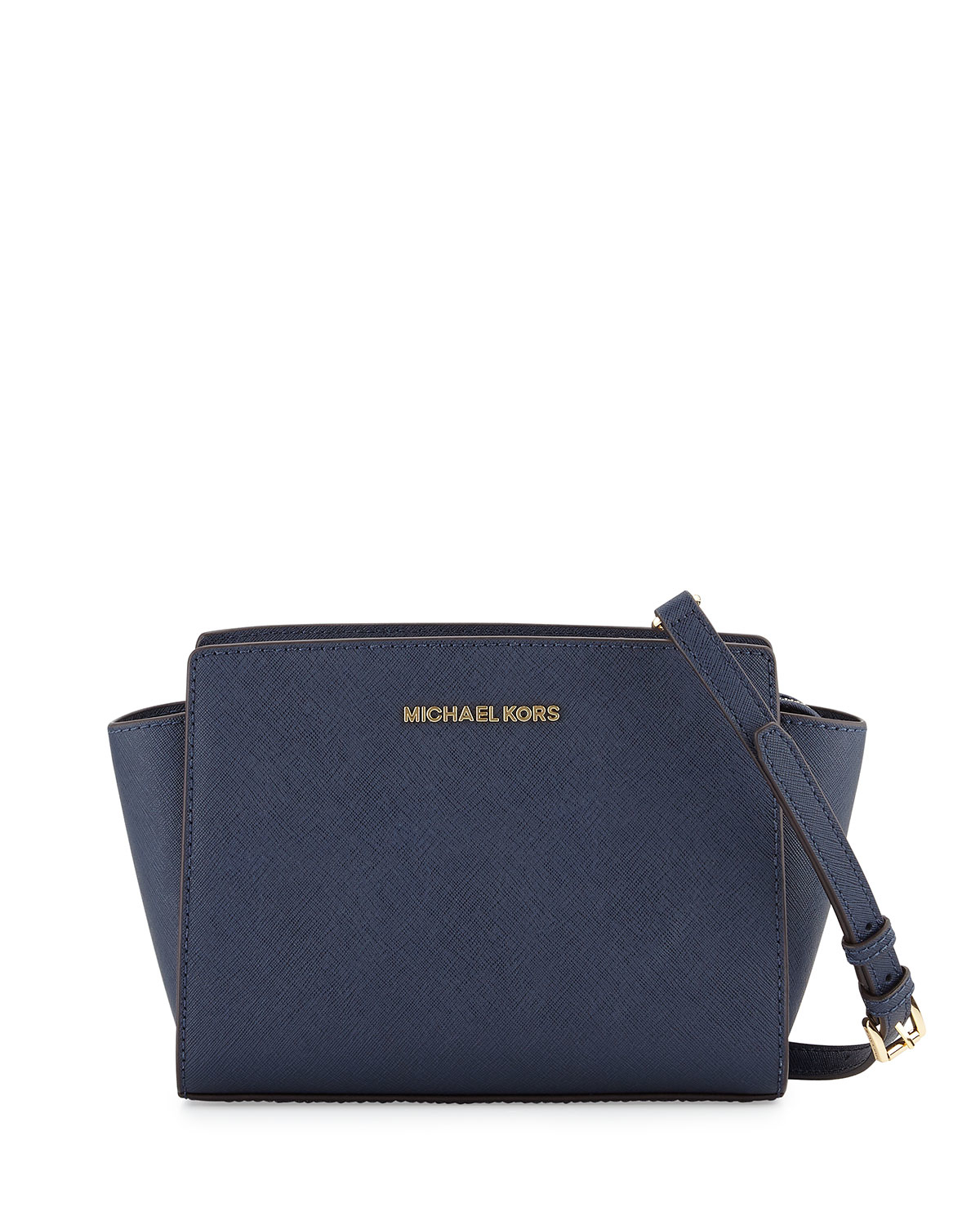 50d6caeb79bf Lyst - Michael Michael Kors Selma Medium Saffiano Messenger Bag in Blue