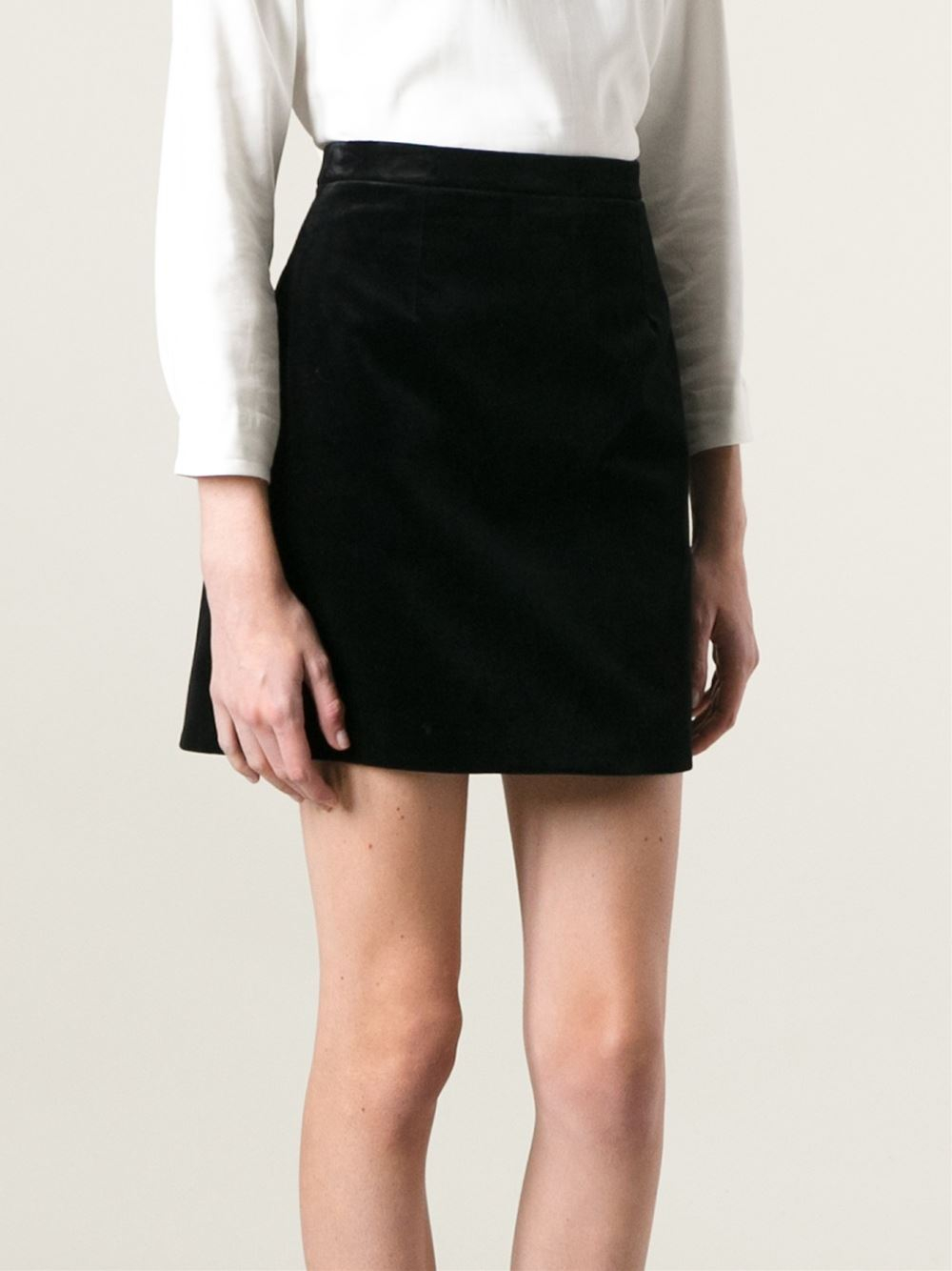 Saint laurent Velvet A-line Skirt in Black | Lyst