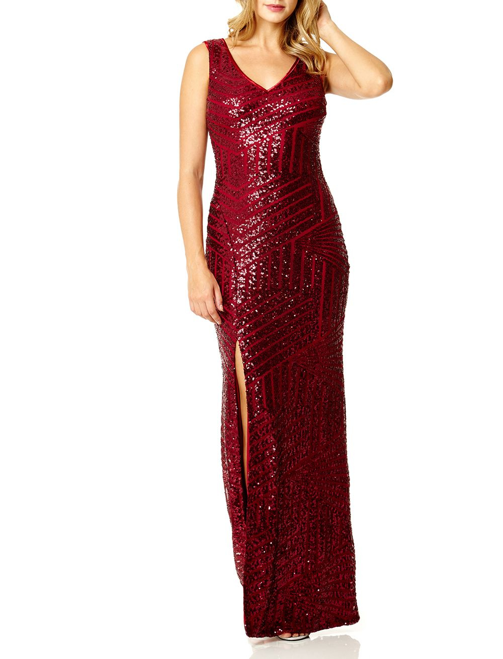 Quiz Berry Sequin Zig Zag Maxi Dress In Red Lyst