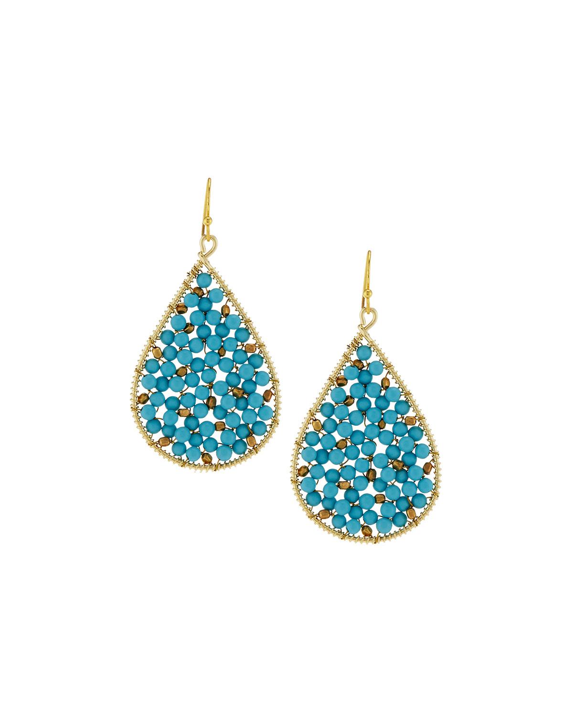 Nakamol Turquoise Beaded Circle & Teardrop Earrings EqSrd4C9Z