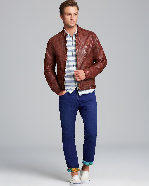 scotch soda scotch soda washed leather biker jacket in brown for men. Black Bedroom Furniture Sets. Home Design Ideas