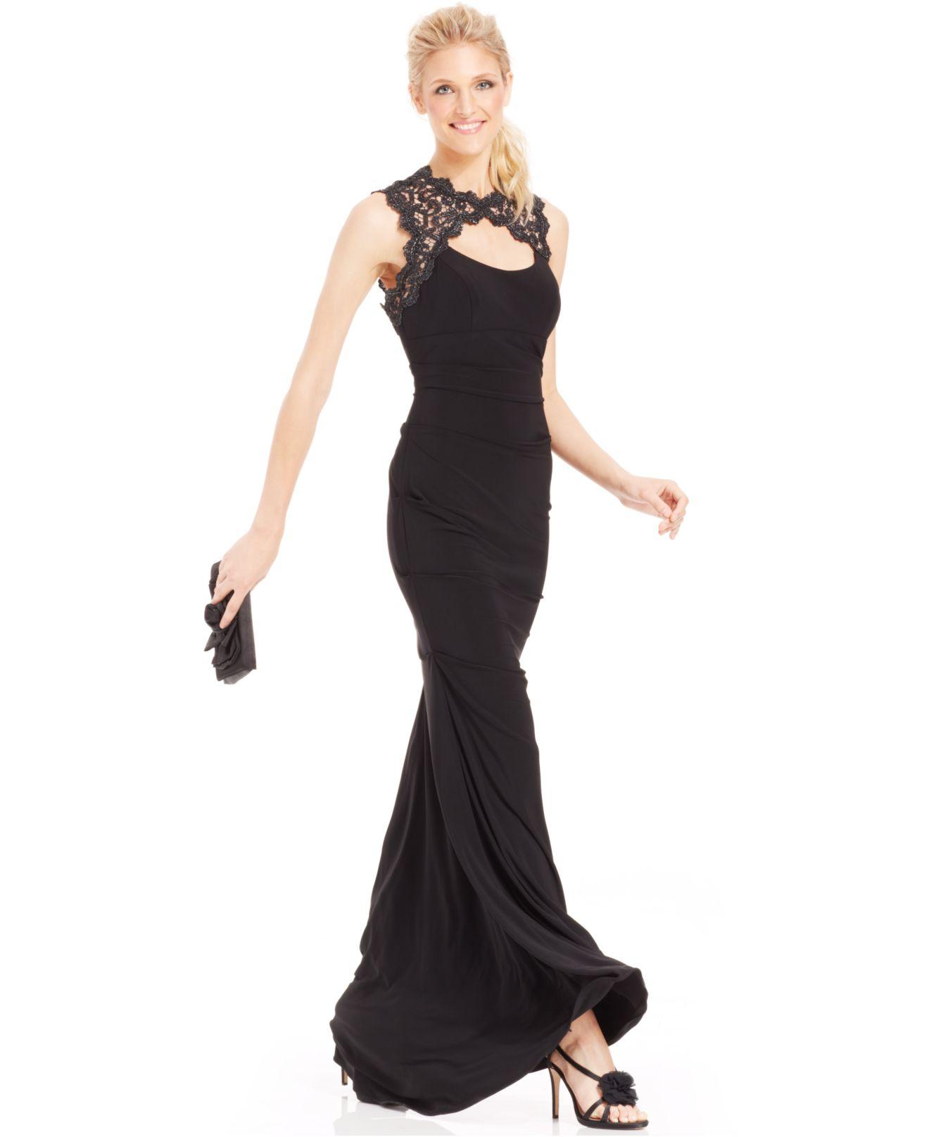 1264bd61 Xscape Glitter Lace Cutout Mermaid Gown in Black - Lyst