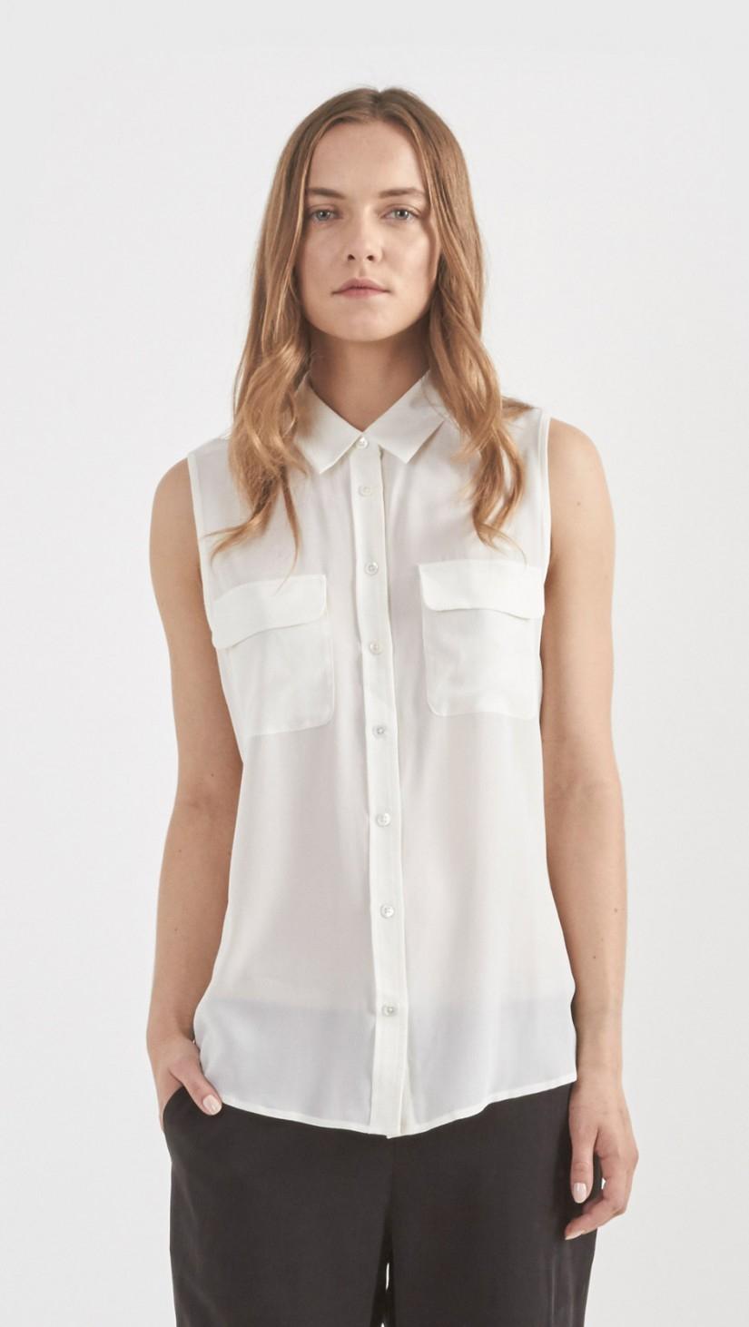 Equipment sleeveless silk slim signature shirt in white lyst for Equipment signature silk shirt