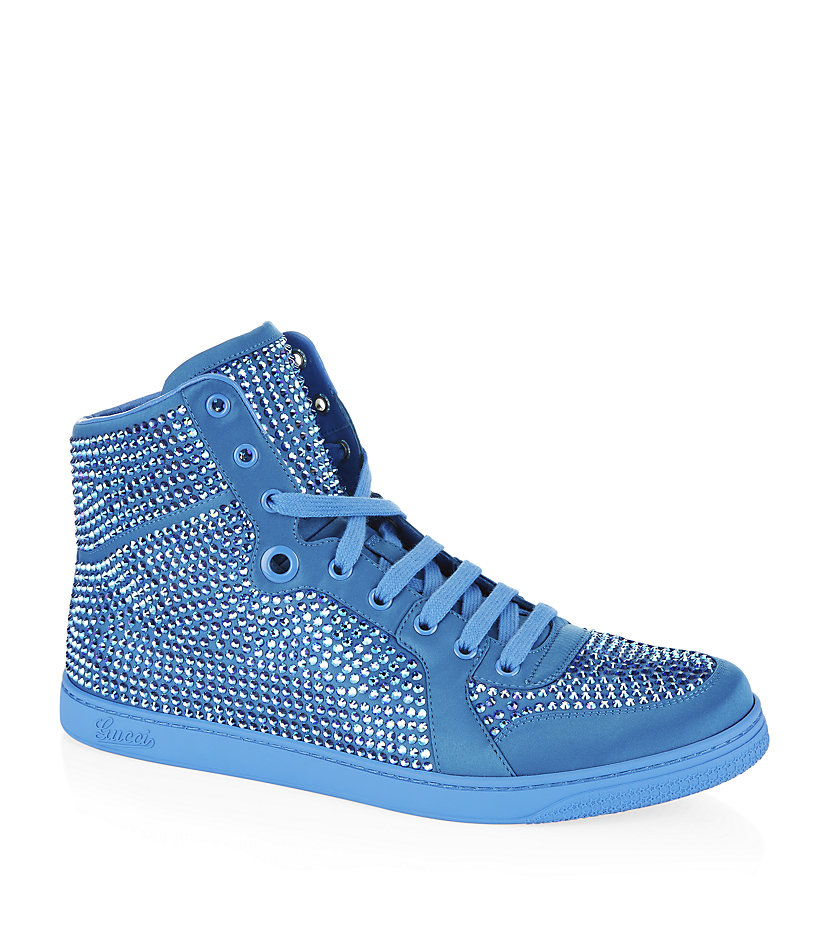 27d8def0e507 Gucci Coda Bling Leather High Top Sneaker in Blue - Lyst