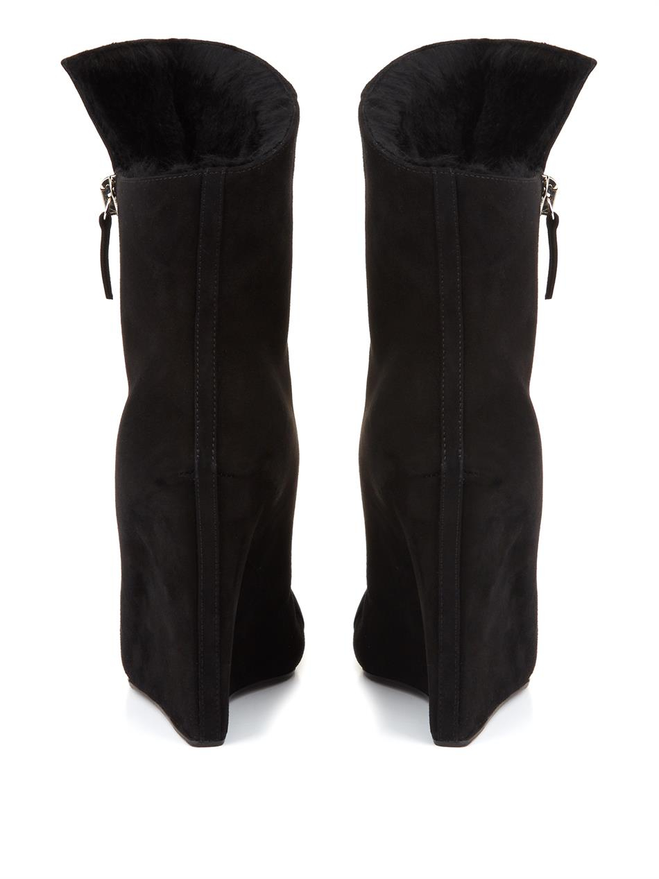 acfd84428a0d Lyst - Giuseppe Zanotti Suede And Fur Wedge Boots in Black