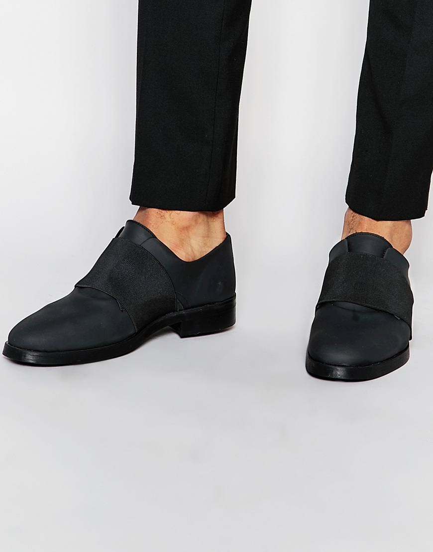 Buy Men Shoes / Asos Shoes In Black Rubber Leather Effect With Elastic
