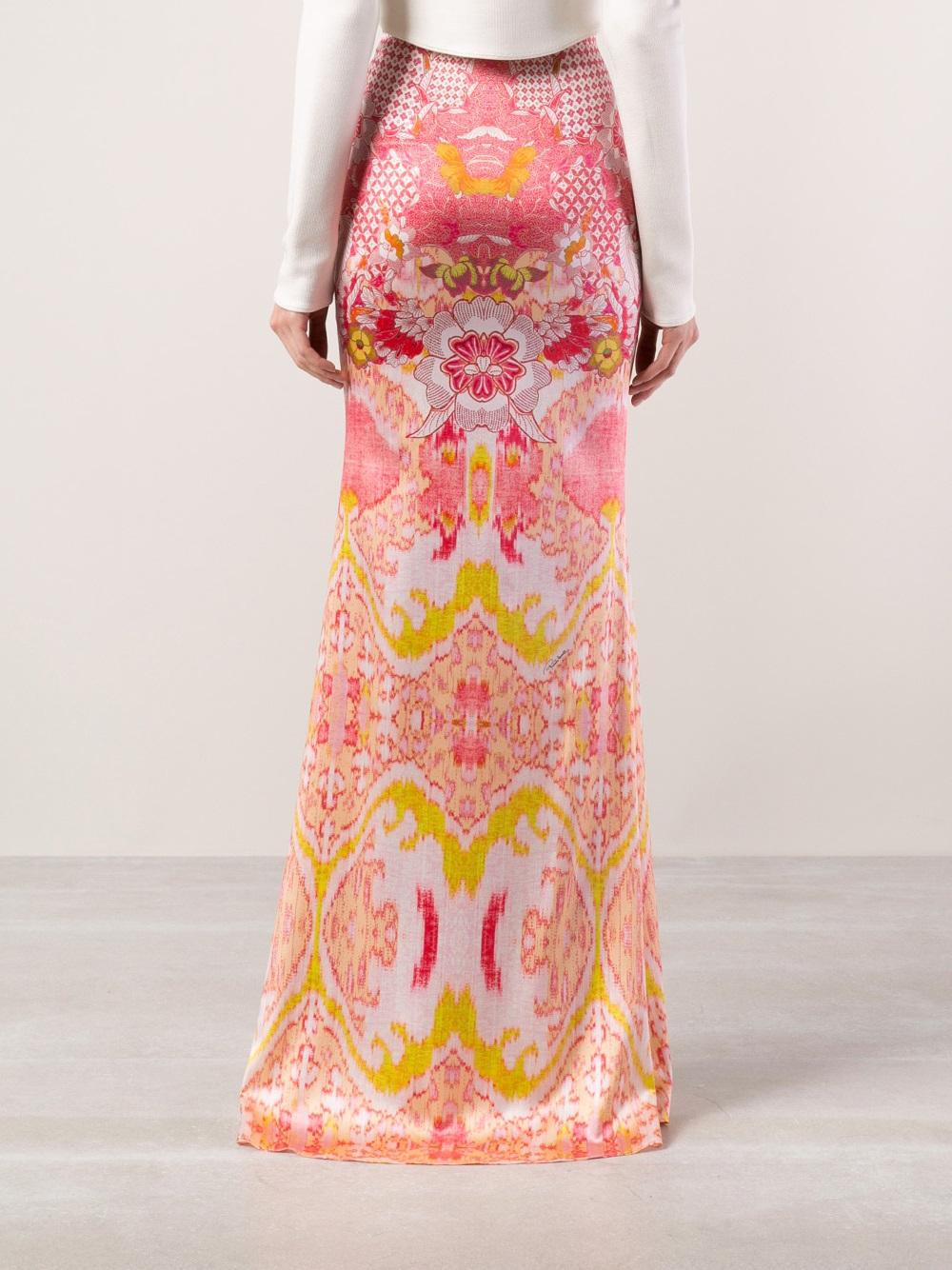 63e7d9eeb9 Lyst - Roberto Cavalli Floral Print Maxi Skirt in Pink