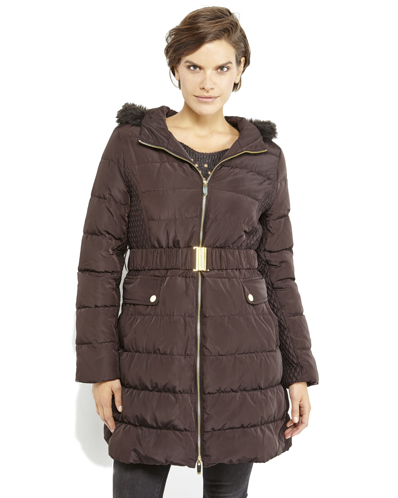 Lyst Via Spiga Brown Faux Fur Trim Hooded Long Puffer
