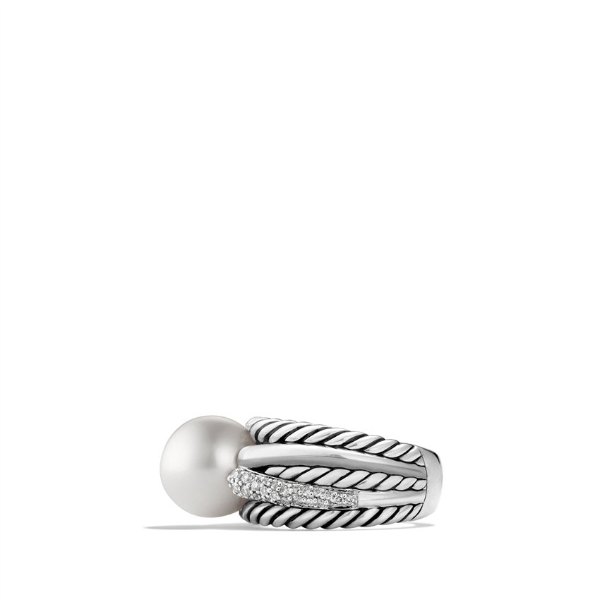 david yurman pearl crossover wide ring with diamonds in