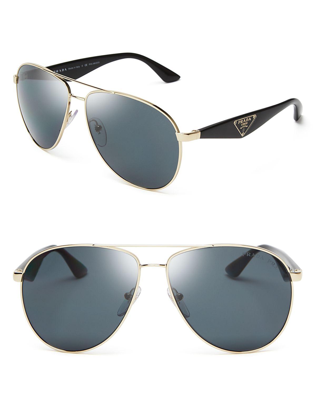 24cf7ece0b573 Prada Polarized Double Bar Aviator Sunglasses in Metallic for Men - Lyst