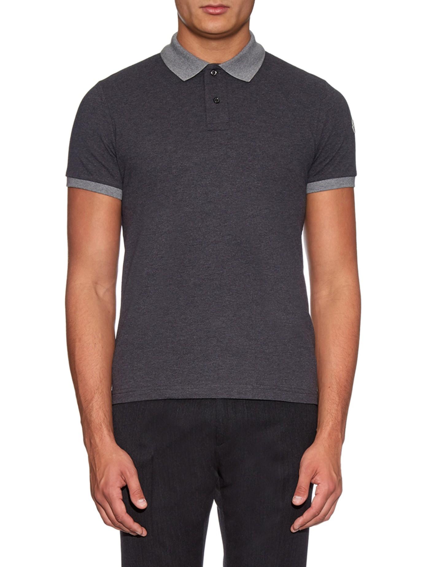 Lyst Moncler Contrast Collar Cotton Piqu Polo Shirt In