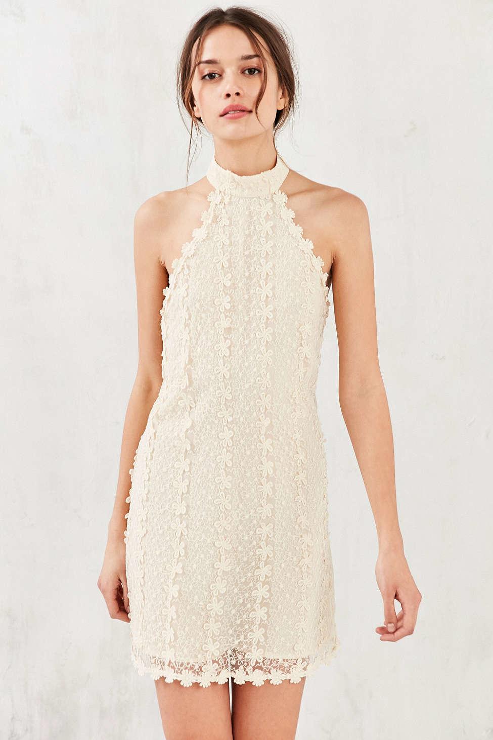 a4a05e70e8 Lyst - Ecote Daisy Lace Mock-neck Mini Dress in Natural
