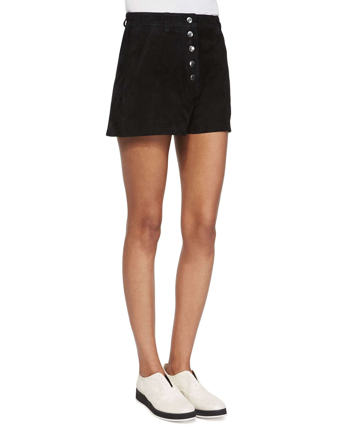 Black leather gloves buttons - Rag Amp Bone Branson Button Front Suede Shorts In Black Lyst